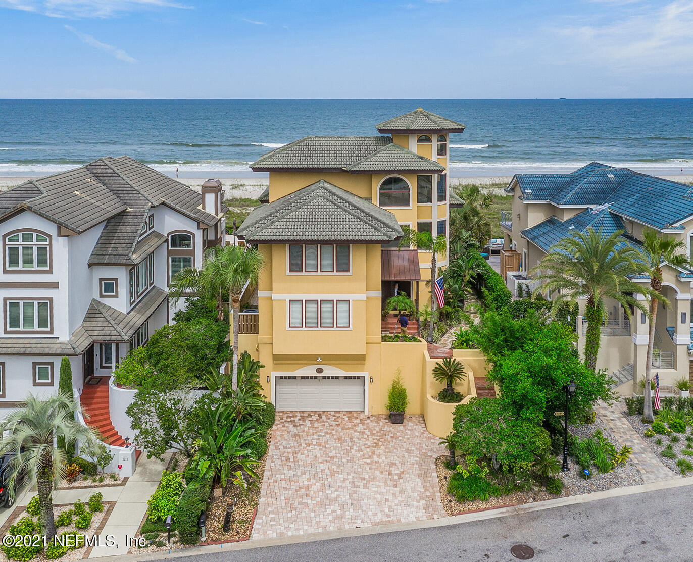 Envision yourself waking up everyday to the sound of crashing waves. Nestled behind the gates of Tiffany by the Sea in one of the most secluded locations of Atlantic Beach, this architectural tour-de-force offers features and amenities that most can only dream of. With 180-degree ocean views from almost every room in this home and direct beach access from your back deck, you can live everyday as if you were on an extended vacation. As you enter the courtyard, you find yourself moved by lush and meticulously maintained landscaping that blends a tropical vibe with complete privacy. This elegant home generously offers functional living and entertaining space for a large household. Schedule a showing now so you can start living your oceanfront dream tomorrow.
