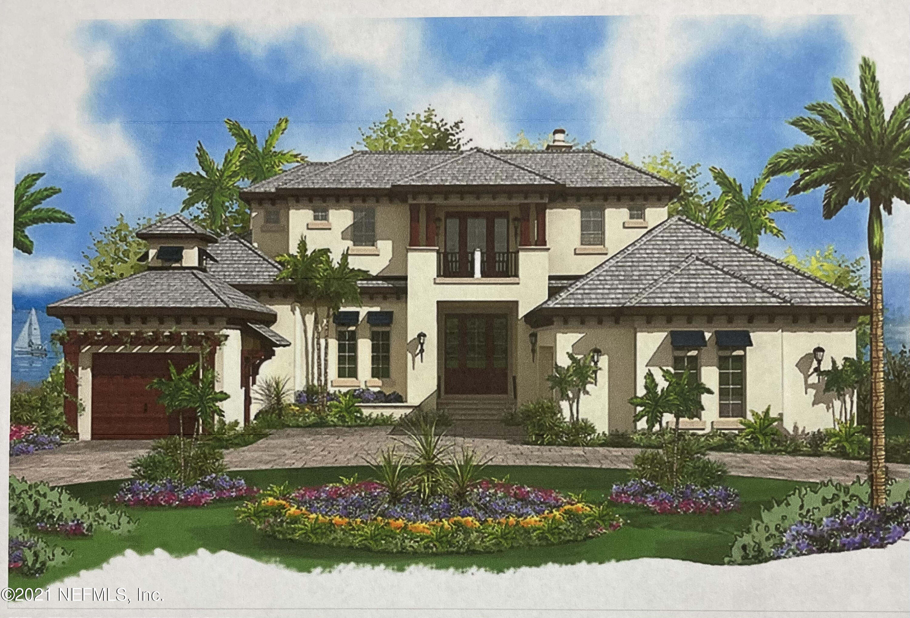 """Proposed luxury custom home to be built in the exclusive Found Forest estate section located inside of highly sought after Marsh Landing Country Club in Ponte Vedra Beach, Florida.  Use this proposed plan by Aurora Builders or build your own custom dream home on this 3.42 acre lot w/ 2.66 acres of uplands.  You can even build a separate home for in-laws or guests, as 2 separate homes are allowed on this lot, but cannot be subdivided.   FULL GOLF INITIATION INCLUDED TO MARSH LANDING COUNTRY CLUB; applicable dues & fees apply. """"Luxury custom home at 5,973 sq. ft. with 4 bedrooms and 4 full Baths and 1 half Baths """"Wood-framed construction with stucco veneer """"Concrete roof tiles, with ornamental brackets at roof overhangs """"Clad wood or fiberglass-framed windows and exterior doors """"3-car garage with room to add additional garage bays """"Concrete paver driveway and fully landscaped yard """"Large covered rear Lanai for outdoor seating and dining with outdoor kitchen and fireplace """"10' high ceilings on the 1st floor with ornamental ceiling treatments in most rooms """"9' high ceilings on 2nd floor with volume ceiling treatments """"Open floor plan including a spacious Kitchen, Family room, and Dining area with adjacent wet bar """"Grand entry Foyer and formal Living room, with fireplace and adjacent Wine Cellar """"Very large Master suite adjacent to a ground floor Study  """"Plenty of space for entertaining on the upper floor with large second Living room and walk-out covered balcony with twin sun decks """"All upper floor bedrooms feature ensuite baths and balcony access """"Stone or hardwood floors, solid wood doors, rich molding, and custom built-ins  Suggested cost of home (without lot) ~$2,539,000"""