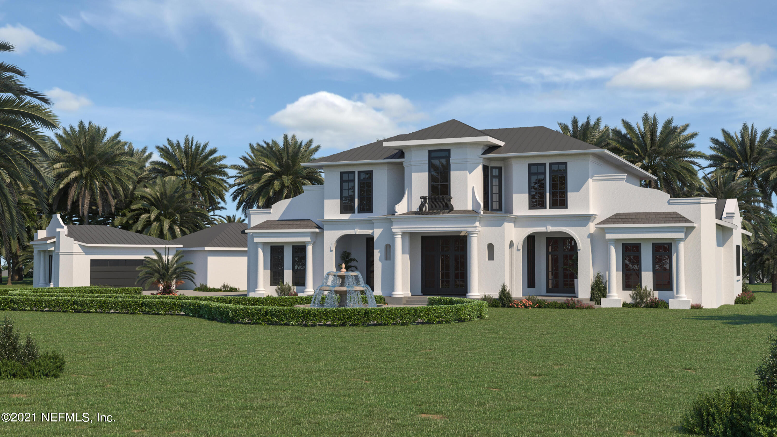 Awesome opportunity to build a brand new elegant estate home in the gated community of Queens Harbor. Designed to be built on this private, waterfront, 4 acre lot, this to-be constructed home boasts 7,879 sq ft of luxurious living, including a beautifully appointed guest house. The plan includes an elegant covered entry, grand foyer, magnificent staircase, music hall, coat room, great room, breakfast bar, wine bar, chef's kitchen, and formal dining area. The master suite will feature elegant bathrooms, custom closets and incredible water views. Outdoor living areas will feature multiple covered spaces and a gorgeous pool. This price includes poured concrete block construction with funds allowed for helical piling and grade beam foundation (if required). See more... These plans also include a second floor with a junior master suite, private office with bar & separate conference room, gallery area, loft and an additional bedroom & bathroom. Bring your own interior designer, or work with the builder's to take advantage of $800k in allowances included for owner selections/finishes. Pricing includes a $200k allowance for pool or additional hardscape and landscaping. Included in the budget are roofing upgrades, luxury clad windows and 12ft ceilings. Build price and availability is subject to final wetlands survey, owner selections, permitted design, verification of funds, and permit issuance by all authors holding jurisdiction. This property is an out parcel and not subject to Queens Harbor's fees and HOA rules/restrictions. This rendering is just an example of what could be built on this beautiful 4 acre lot. The lot is also for sale separately. See MLS #:1104540.