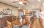 Dining area has ceiling fan.