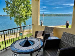 Covered Deck off main level Great Room with an amazing view of Grand Lake!