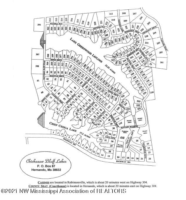 Chickasaw Bluff Lakes Subdivision Map