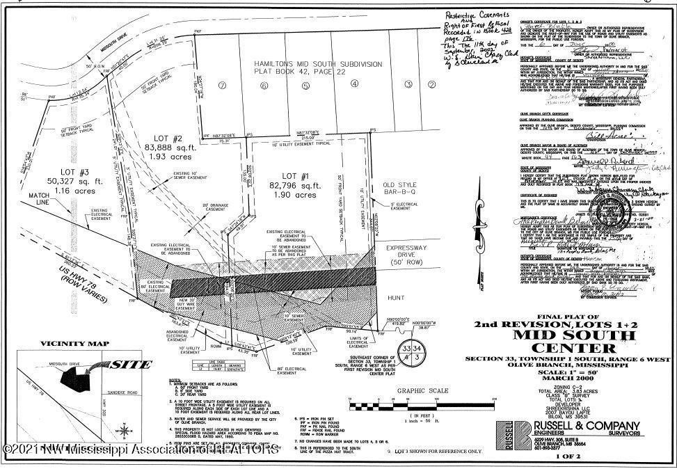 Plat Map - Lots 2 & 3 Midsouth Olive Bra