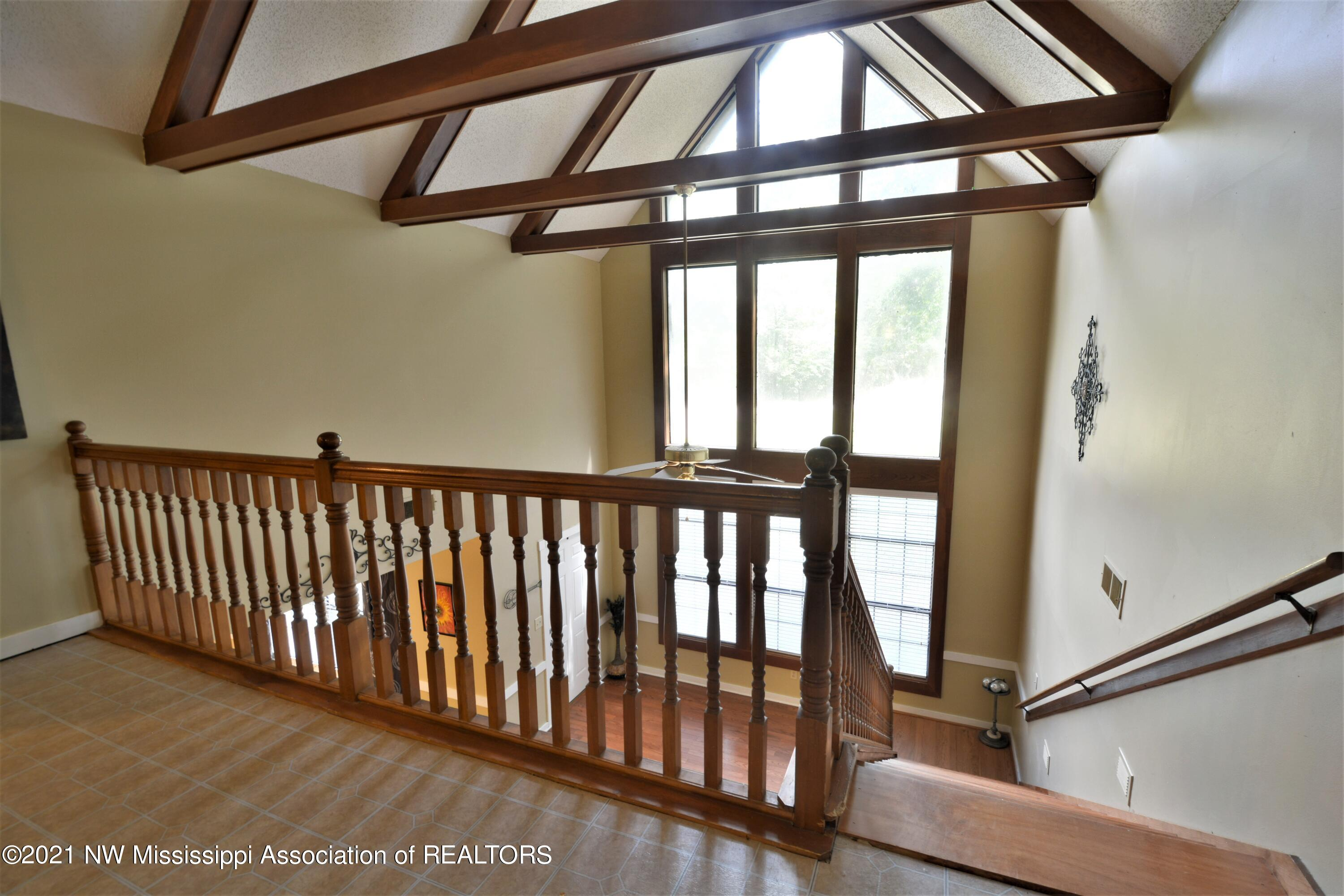 Wood beams over entry