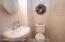 newer 1/2 bath on off the living rm/dining area
