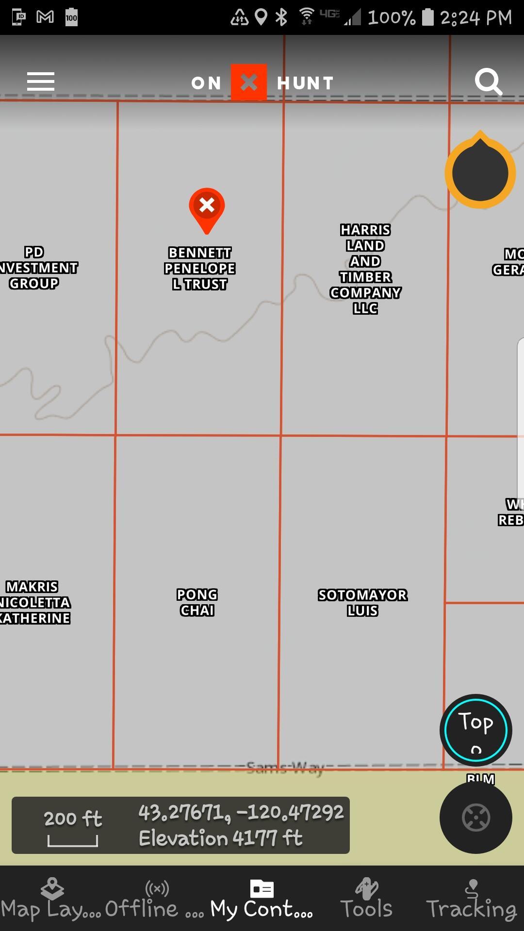 Property location on On X Hunt app
