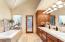 Bathroom door leads to hot tub.