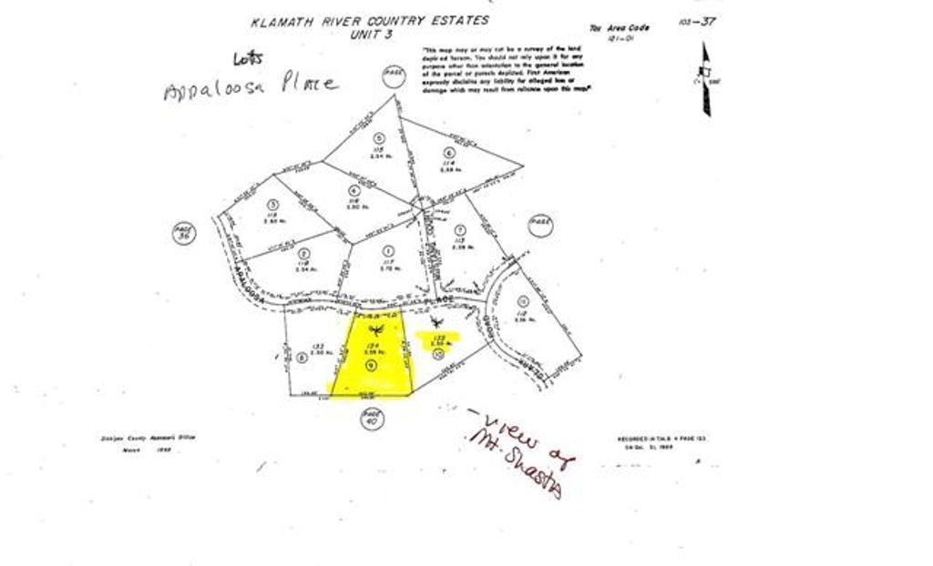 Lot 134 Appaloosa plat map