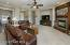 Large Open Great Room w/Media Niche and Designer Ceiling Fan.