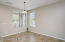 """Kitchen Dining Area, 20"""" Tile Flooring & Sunny Windows with Horizontal Blinds & 2 Tone Paint."""