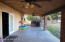 Covered back patio with ceiling fans