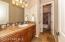 Upstairs Bath 2 with Tiled Counter, Alder Cabinetry, Linen Closet< Private Toilet Rm & Tiled Bath/ Shower Combo.