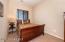 Upstairs Bedroom 3 with Sliding Door Closet, Carpet Flooring, 2 Tone paint, & Sunny Windows with Wood Horizontal Blinds.