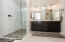 Large walk-in shower with double vanity in Master Bath