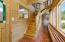 Custom wood stairway in the sunroom