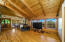 Wood beamed vaulted living room ceiling