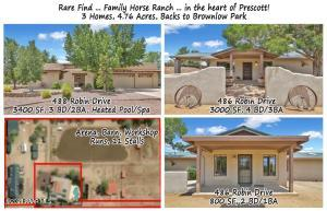 Two homes offered on 4.76 acres. Must see attached feature sheet for more details on this truly one-of-a-kind offering. This is a family horse ranch in the center of Prescott, where most ranches like this are miles outside of City limits - you will be wowed by this property and the location!