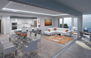 View from Terrace of Spacious Great Room, Dining Room, and Gourmet Kitchen with Panoramic Slide And Stack Doors