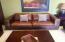 Leather sofa and original art.