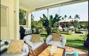 Patio off living room...enclosed and comfortable... Fully furnished.