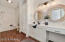 Spacious bathroom with vanity and built ins
