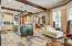Slate tile floors throughout the stylish kitchen area