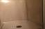 Interior view of shower stall of second bathroom