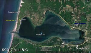 Aereal showing narrow peninsula where Rexwood Cottage is located.