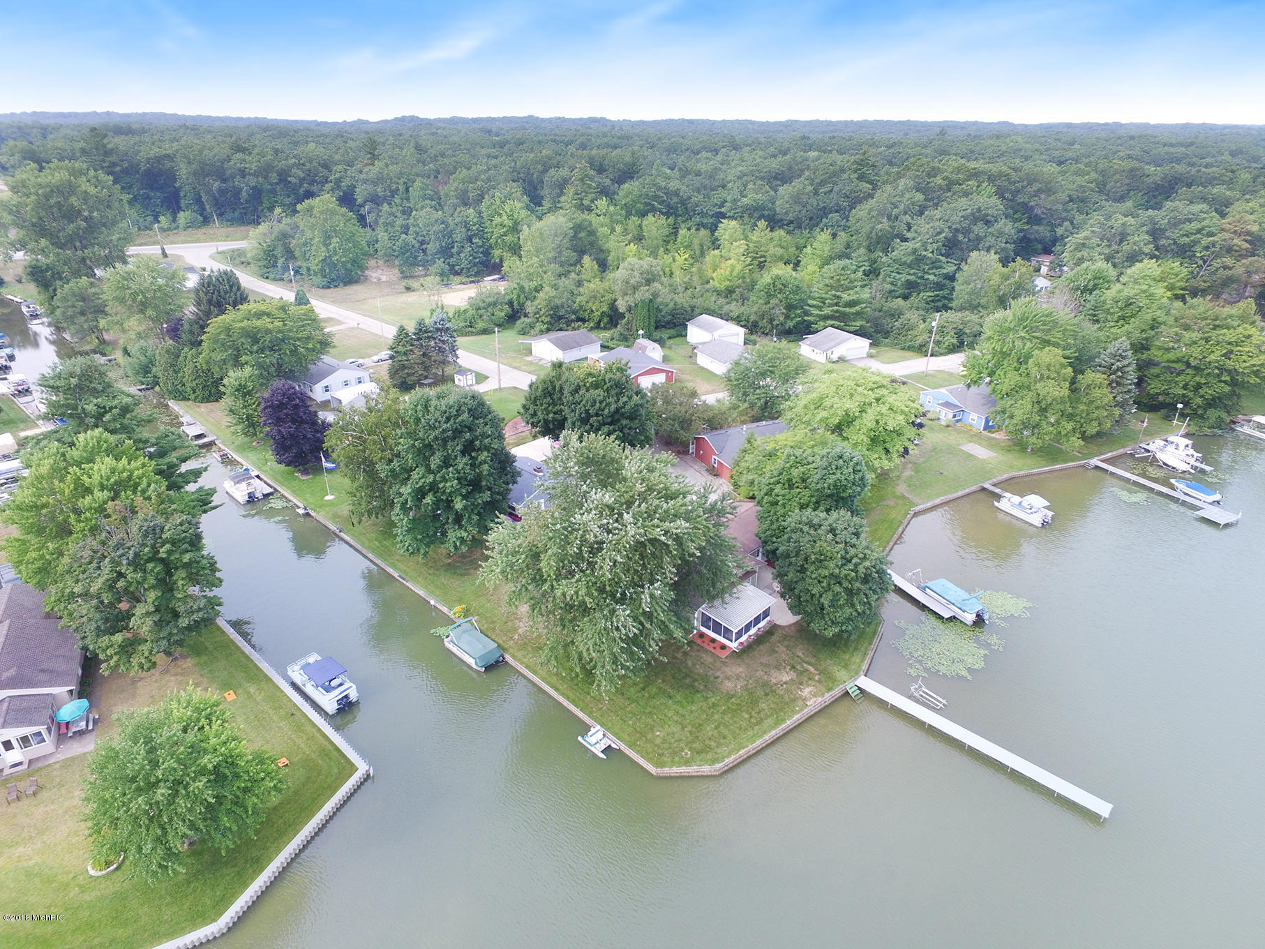 Aerial of home & dock