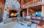 Welcoming natural field stone fireplace