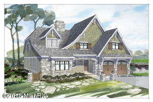 To-be-built in the exclusive gated community of Montreux by one of West Michigan's premiere high-end builders, Falcon Custom Homes. This shingle style home is designed by Visbeen Architects for the active family looking for the finer details. The shingle shakes; board and batten, and stone come together on the exterior, exuding a casual elegance. The living space, with its vaulted ceiling, maximizes sweeping view of the beautiful countryside. The open kitchen includes island seating, walk in pantry, custom cabinets, granite, and pro appliances. A spacious patio and screened porch, attached to the dining area, complete with phantom screens, makes outdoor living convenient and comfortable.  Photos online similar to home previously built.