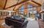 Great room concept with soaring ceilings and lots of windows.
