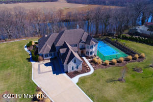 Aerial view of the home on the St. Joseph River
