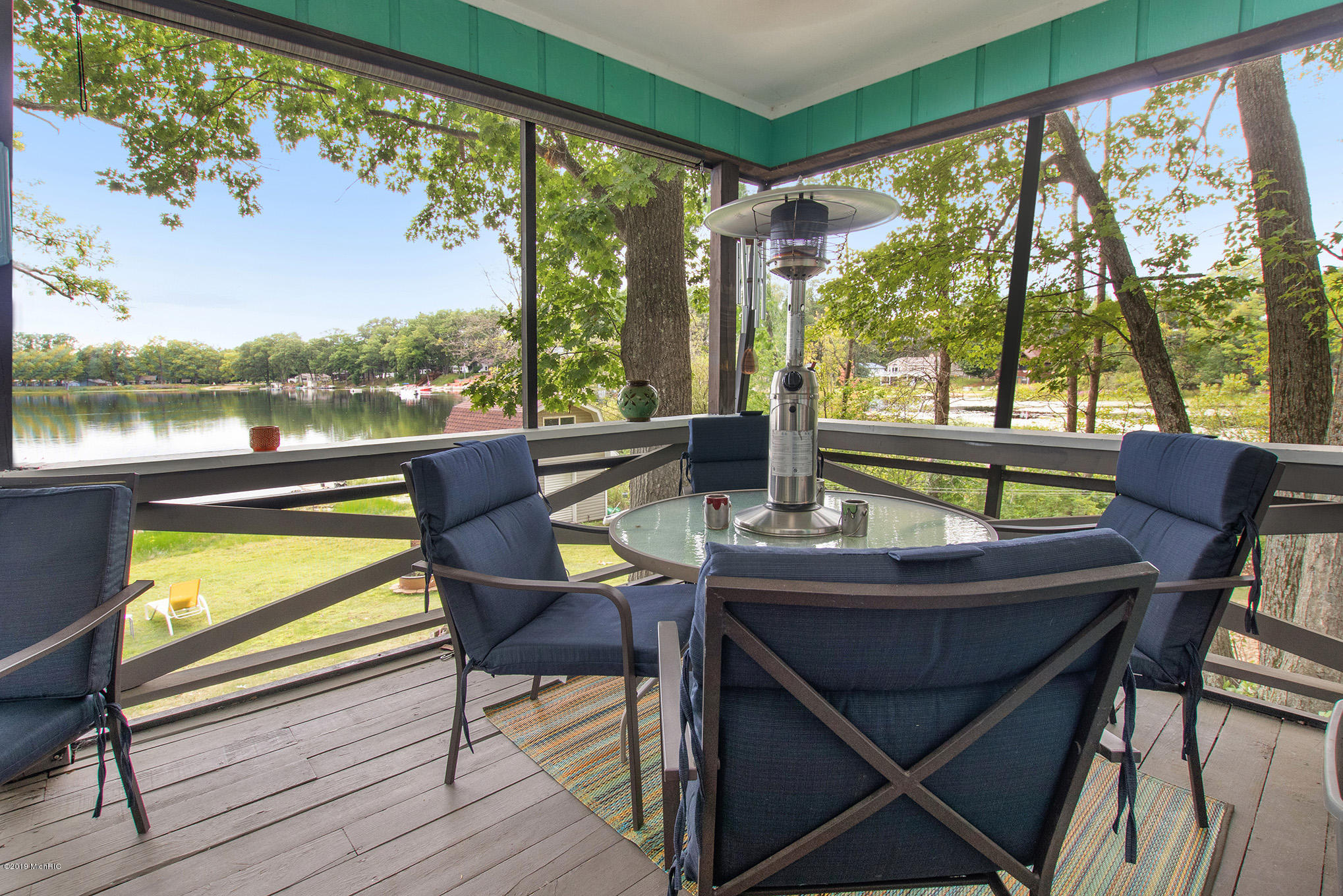 Screen porch overlooking the lake