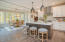 kitchen island and eating area