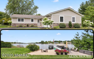 Fully renovated in 2015, this immaculate ranch style home has 45 feet of private frontage on all-sports Lake Bella Vista, where you can enjoy some of the most beautiful West-Michigan sunsets from your own piece of paradise. Great lakeside patio, sandy beach and dock system. Effectively 4 years old, this 3-bedroom, 3 bath gem offers approximately 2300 square feet of finished living area and boasts new granite and quartz counter tops, Luxury Vinyl Plank flooring, new windows and doors and upgraded trim throughout. The new kitchen is sure to please with granite tops, tiled backsplash and newer stainless appliances. Dining area with deck and back yard access. 10' x 14' deck is all composite materials for low and easy maintenance.