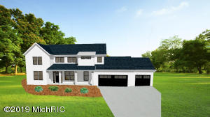 Custom build ranch by LOYL Homes, built on a one acre wooded home site in beautiful Byron Center.  Minutes from M-6, hospitals and shopping just a 5 minute drive to downtown Byron Center. Large rear deck viewing the rear woods for privacy. Still time to pick colors, make changes and add additional options. Lower level can be finished as well for more space if desired. Out buildings are allowed! TO BE BUILT.