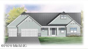 JTB Homes presents the ''Pentwater'' from their Landmark series. This home has it all! 3 stall garage, porch, 12x12 deck with stairs down to 12x12 patio. Inside you'll find a mudroom with bench, locker, and cubbies, and main floor laundry. Kitchen with walk-in pantry, center island with craftsman trim and solid surface counters. Cathedral ceilings throughout the kitchen, dining, and family room, and a gorgeous tiled fireplace in the family room. Main floor master suite with tray ceiling, large walk-in closet, and master bath with double sinks. The main floor also includes 2 additional bedrooms, an additional full bath, and a powder room. This home is currently estimated to be complete by mid-September. We encourage you to wear a mask and refrain from touching surfaces when touring the home