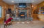 Massive Stone Fireplace w/Log Mantel