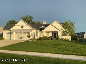 Check out this Schultz Builders, LLC former parade of home built in 2018. Award-winning Byron Center schools, Popular Railside neighborhood, close to Kent Trails bike path. Better than NEW...custom designed window treatments, professional landscape, tremendous quality and details throughout home. You'll love the designer upgrades, full finished basement and open floor plan. Home features: just under 2000 sq. ft on main floor,  designed with functionality, Master suite on one side with 2 more bedrooms on the other side of home.  Open great room with FP and built ins, large kitchen, composite decking Dn: 2 bedrooms, full bath with tile shower, large family room with pool table, custom built bar area.