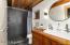 Ensuite Bath with Custom-Built Cherry Vanity & Farmhouse sink