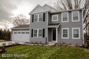 New construction to be complete Feb/Mar 2021, 4 bedroom, 2.5 bath home on 3/4 of an acre of land in Allendale. This home is 8 years newer than similarly priced homes on the market. RESNET ENERGY SMART, 10 YEAR STRUCTURAL WARRANTY. Wow, welcome home to over 2200 sq ft of living space, optimizing convenience with style. The main floor welcomes you from the foyer, with a convenient powder bath tucked away, past a den, that makes a great flex space, into the large dining room, perfect for special occasions, on towards the kitchen which will have white cabinets, a center island with pendant lighting, granite counters and tile backsplash. Upstairs find the master suite, with a huge WIC and private full bath, 3 more bedrooms, another full bath and 2nd floor laundry Daylight basement has good natural light.
