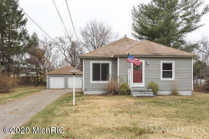 Great opportunity on Grand Rapids' northwest side! This two-bedroom home sits on a large lot, with a large front yard and a sizeable backyard with a fenced in area, perfect for pets if you have them. Step inside and you are greeted with a living room with wood floors and a large picture window that let's the outside in. The living room leads you to the hallway where you can enter both bedrooms and the full bathroom in one direction, or the kitchen in the other direction. The kitchen is offers plenty of counterspace and cupboards for all your cooking needs and includes a breakfast nook. The finished lower level includes a second living area, laundry room, playroom, and storage area. The package is made complete with a two-stall unattached garage.