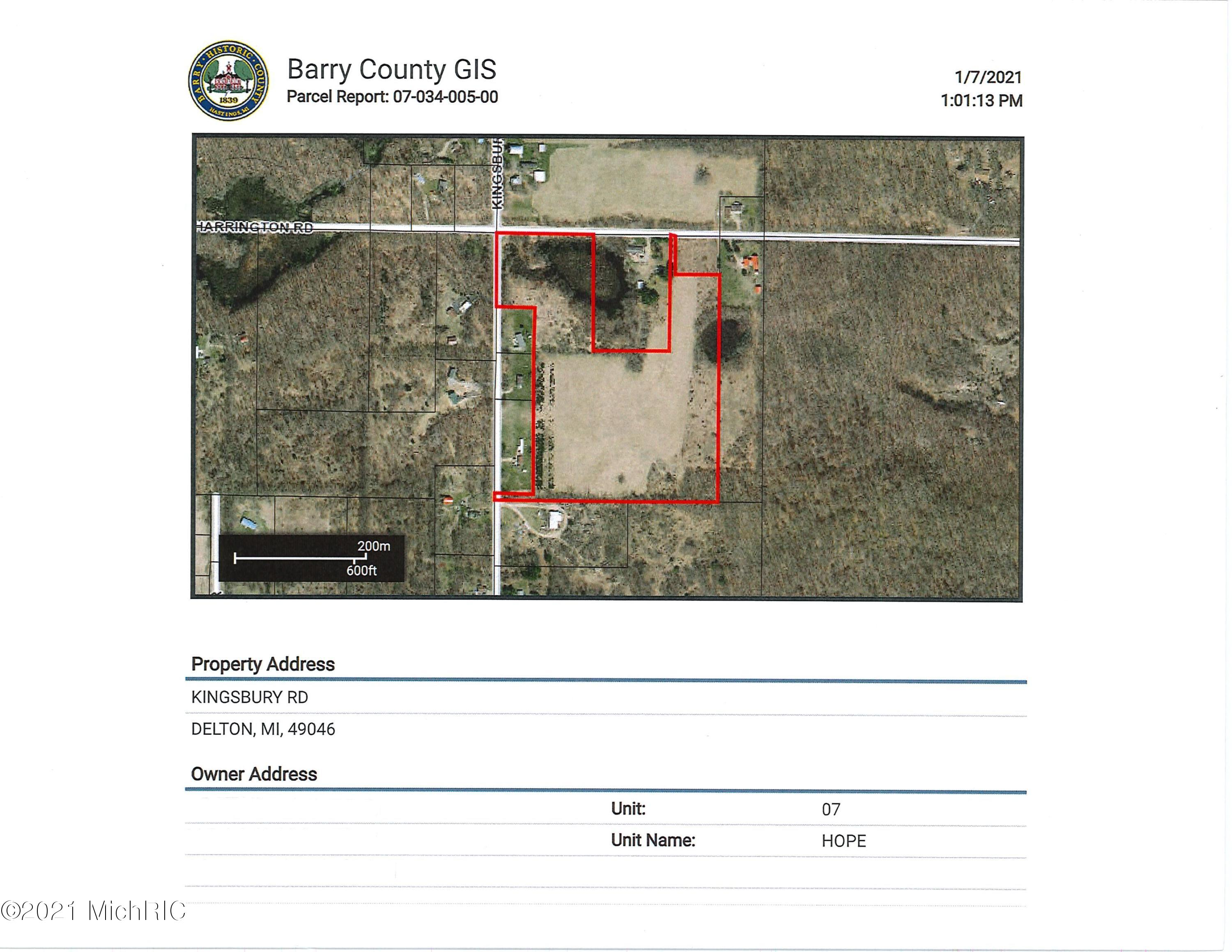 Property for sale at Vl Kingsbury & Harrington Rd, Delton,  Michigan 49046