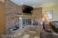 Rec room fireplace