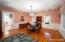 Spacious Dining Room with beautiful hardwood floors!