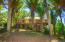 Towering emperor palms surrounding the terraced garden.