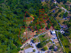 Aerial view of the hillside lots and their location. Please note this listing is for Lot H10.