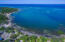 Aerial view of Palmetto Bay that includes the 327 feet of beach frontage that is included in this 10 acre parcel