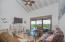 The interior living area offers a beachy feel